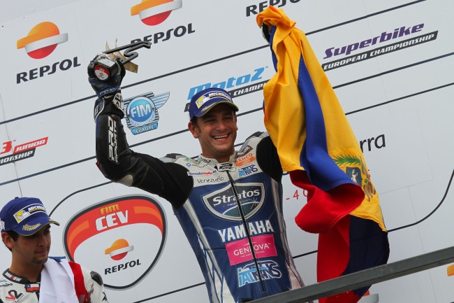 Pietri takes first victory and the fourth podium for Yamaha Stratos at FIM CEV in Navarra